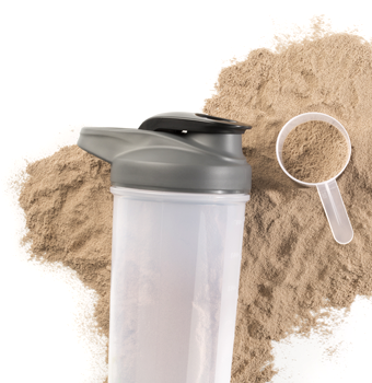 Dark brown chocolate protein powder with scoop and drink container
